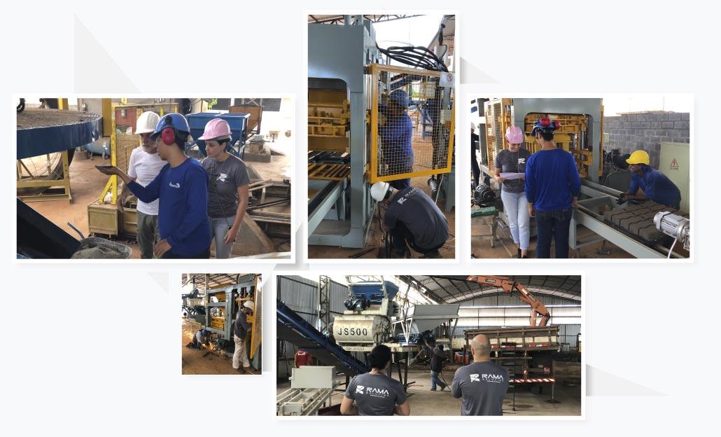 instalação e treinamento de máquina automática para produção de blocos