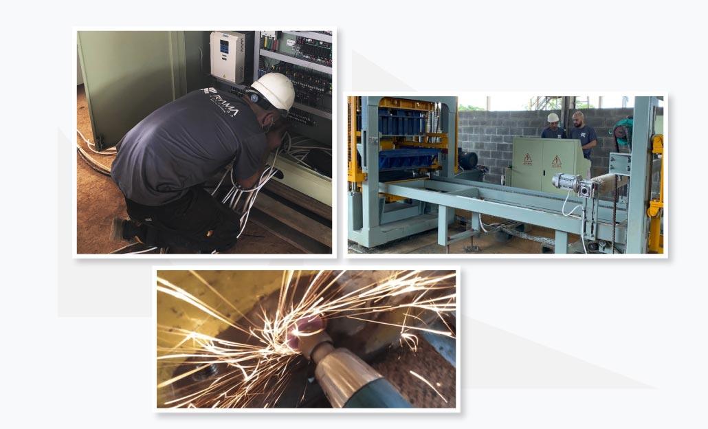 manutenção de máquinas automáticas de concreto para pedras de pavimentação e meios-fiosuines y bordillos